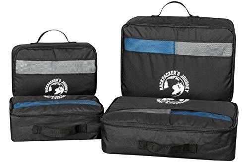Backpacker's Journey Kleidertaschen mit Haken, Packwürfel 4-teiliges Set schwarz. Ideal für Backpacks, Rucksäcke und Koffer Aller Art