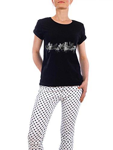 """Design T-Shirt Frauen Earth Positive """"Rotterdam"""" - stylisches Shirt Städte Reise Architektur von Michael Tompsett Schwarz"""