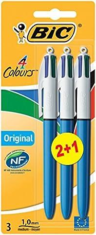BIC 4 Colours Original Ballpoint Pens 2+1