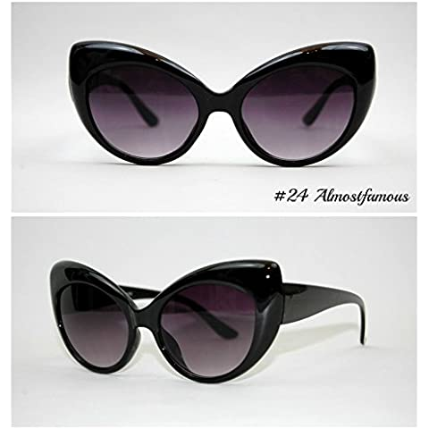 Punk Occhi di gatto nero VTG 50s/60s da donna, stile occhi di gatto occhiali da sole occhiali retrò Rockabilly Vintage Mondo Eye Wear