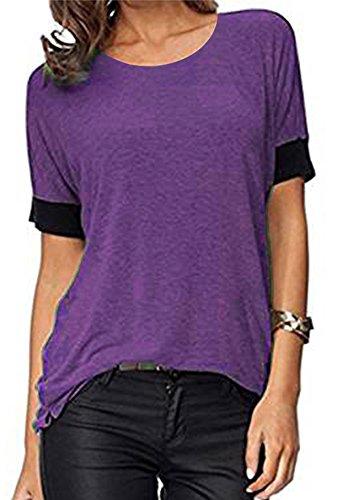 ELFIN Frauen Damen T-Shirt Rundhals Kurzarm Ladies Sommer Casual Oberteil Locker Bluse Tops - Weiches Material - Sehr Angenehm zu Tragen (SV6PO6JR) (Kurzarm-shirt-jacke)