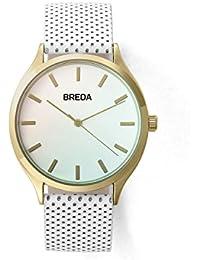 Breda oro/color turquesa Cristal/Blanco Piel Cuarzo Reloj 1706B