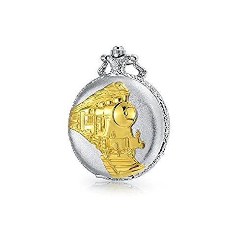 Silver and Gold Plated Steam Engine Train Simulated Quartz Mens Pocket Watch