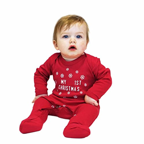 ropa niños navideña AIMEE7 Bebé Niñas Niños Infantiles Carta de manga larga Navidad ropa mono mameluco (rojo, 6-9 meses)