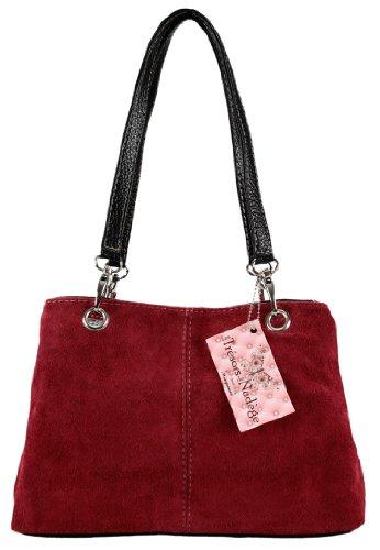 Mon Sac Cuir–Borsa a mano in crosta di cuoio–Modello Olga Rosso (rosso)