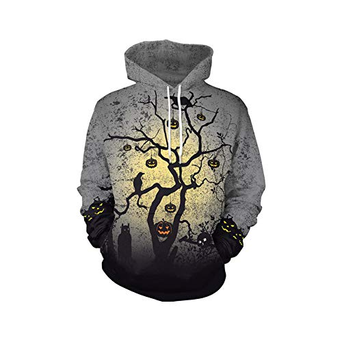 (YaXuan Unisex Hoodies Pullover 3D Sweatshirts Halloween Kostüme Cosplay Halloween Geist Festival Kleine Elemente Digitaldruck Lustig Für Männer Frauen (Farbe : Photo Color, Größe : XL))