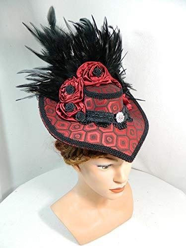 Damenhut Schute rot Viktorianisch Gothic Marie Antoinette Fascinator Kopfschmuck Karneval (Elizabethan Renaissance Kostüm)