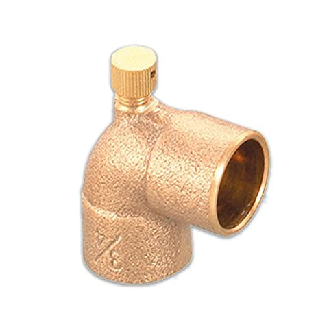 Everflow Supplies CCDL0120-NL 1/2 Cast Lead Free Brass 90 Degree Elbow with Sweat Connects and Drain Caps by Everflow