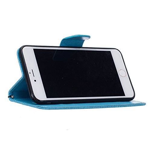 Cover per Apple iPhone 6 / 6S Custodia, TOCASO Copertura di Ccuoio Cover in PU Sintetica Ecopelle Pelle Guscio per iPhone 6 / 6S Caso Ultra Sottile shell Disegno DONT TOUCH MY PHONE Orso protettivi B Azzurro