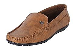 Quarks Mens Tan Synthetic Leather Casual Loafer Shoes