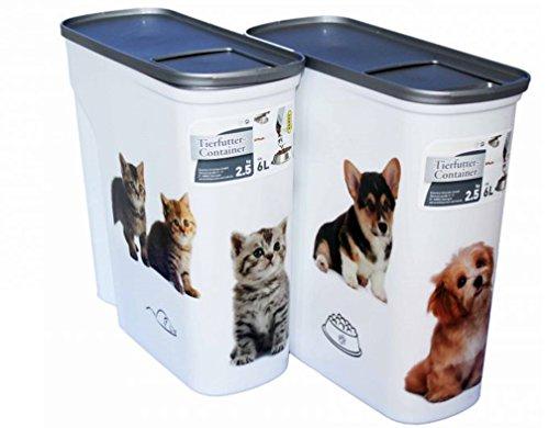 Futtercontainer Futteraufbewahrung Aroma-Verschluss mit Dosier-Öffnung Katzen-Motiv 2,5kg 6l (Katze)