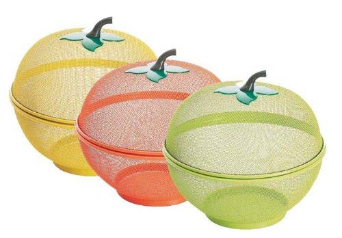 Excelsa Apple Cestino Frutta, Acciaio, Arancione/Giallo/Verde, 26.5 x 26.5 x 27 cm