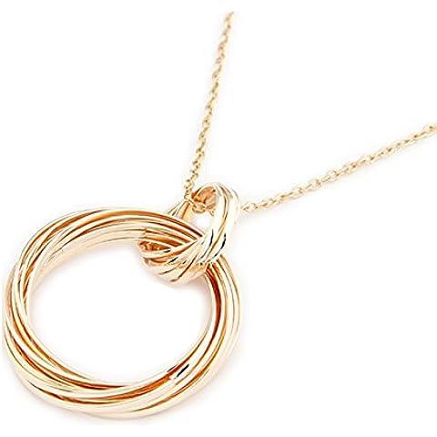 Collana con ciondolo a forma di cerchi intrecciati collana dell'amicizia effetto oro di DesiDo®