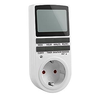 TechSmile digitale Steckdose mit Zeitschaltuhr/34x49mm groß LCD/Zufallschaltung/Back-Up Reserve-Akku/16 Einstellung Kombinationen/2900W