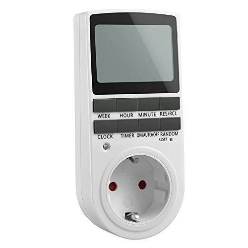 Elektronische Zeitplan (TechSmile digitale Steckdose mit Zeitschaltuhr/34x49mm groß LCD/Zufallschaltung/Back-Up Reserve-Akku/16 Einstellung Kombinationen/2900W)