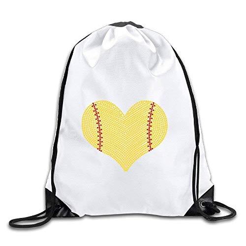 Etryrt Prämie Turnbeutel/Sportbeutel, I Love Softball Heart Polyester Drawstring Backpack Tote Sport Bag Home Travel Sport Storage Use -