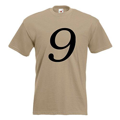 KIWISTAR - Zahl 9 - Zahlen Nummern T-Shirt in 15 verschiedenen Farben - Herren Funshirt bedruckt Design Sprüche Spruch Motive Oberteil Baumwolle Print Größe S M L XL XXL Khaki