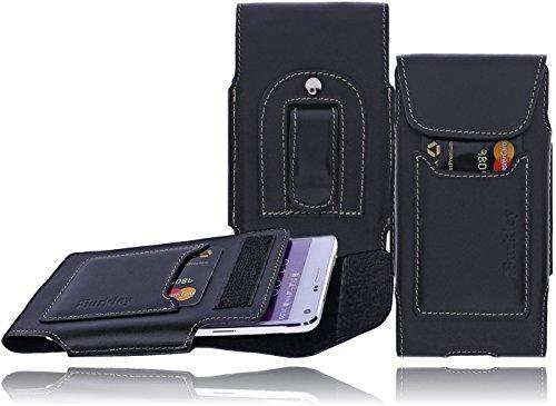 Burkley Leder Handytasche für das Sony Xperia M5 Vintage / Retro Look Köcher-Tasche Handytasche Gürteltasche Holster Handyhülle Schutzhülle Handy-Gürtel-Tasche Hülle Tasche Case Cover mit Kartenfach in schwarz - vertikal