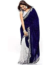 New Beautiful Designer Women's Sari Exclusive Designer Blue Velvet Saree For Women Girls Ladies - Free Size Branded...