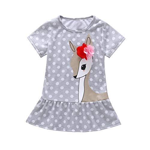 KIMODO Kleinkind Baby Mädchen Kleid Hirsch Punkt Drucken Kleider Urlaub Prinzessin Sommerkleid Kurzarm Outfit Kleidung Crochet Detail Kleid