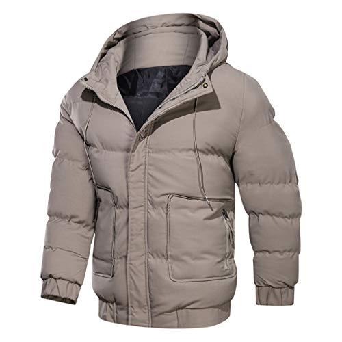 KPILP Herren Winterjacke Steppjacke mit Kapuze Hooded gefüttert Übergangsjacke Outdoorjacke Mantel Winter Parker Coat mit Taschen