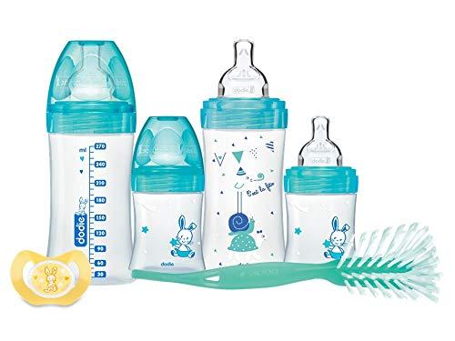 DODIE Coffret naissance Sensation+ x4 biberons anti colique (2x150ml + 2x270ml) + 1 goupillon + 1 sucette physiologique 0 - 2 mois