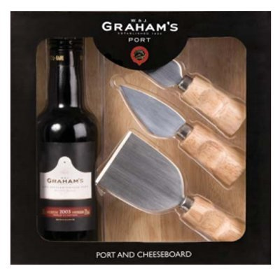 W & J Graham's Port, Cheese Board And Cheese Knife Trio (J-board)