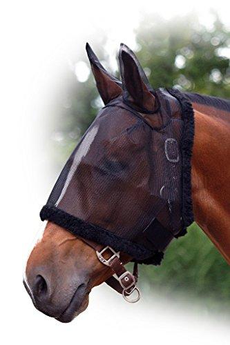 Fliegenschutzmaske mit Ohren QHP Fliegenschutz Fliegenmaske Fliegennetz ARBO-INOX® (Shetty, schwarz)