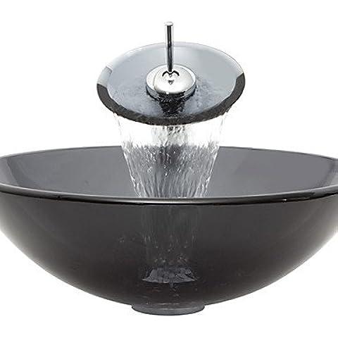 Luxury classic grigio rotondo in vetro temperato nave lavandino con rubinetto a cascata ,Pop - Scarico e anello di montaggio