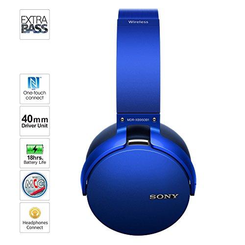 Sony MDR-XB950B1 On-Ear Wireless Premium EXTRA BASS Headphones (Blue)