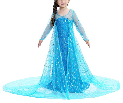 Le SSara Langarm Mädchen Prinzessin Cosplay Kostüme Fancy Schmetterling Kleid (140, Blau-E08)