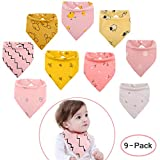 Viedouce Baby Dreieckstuch Lätzchen mit 2 Verstellbares Druckknopf,100% Bio-Baumwolle,Weiche & Absorbierende,Baby Halstücher Drool Lätzchen für Jungen Mädchen (Farbe-01, 9 Packs)