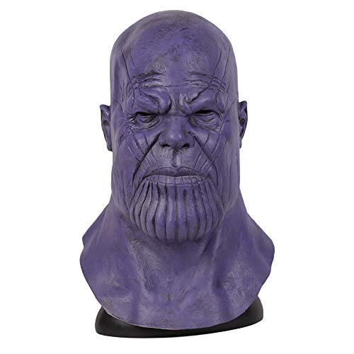 Avengers 4 Thanos Latex Maske Voller Kopf Cosplay Erwachsene Kinder Kostüm Zubehör Halloween Karneval Requisiten Film Charakter,A-OneSize - Charakter Kostüm Zubehör