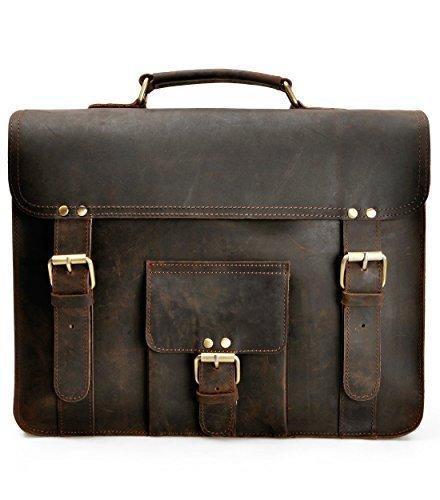 ZLYC Herren Cabrio Leder Aktentasche Rucksack Vintage Handarbeit 39,6cm Laptop Messenger Bag Umhängetasche dunkelbraun - Cabrio Leder Aktentasche