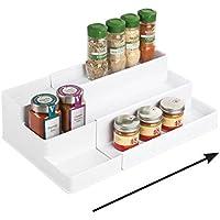 mDesign étagère à épices extensible à 3 niveaux – présentoir à épices en PVC pour sel, poivre, paprika, etc. – rangement…