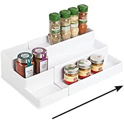 mDesign étagère à épices pour le placard de cuisine - solution de rangement extensible pour garantir l'ordre dans la cuisine - 3 niveaux - couleur : blanc