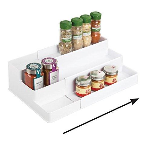mDesign Especiero extensible para armario de cocina – Estante para especias idóneo...