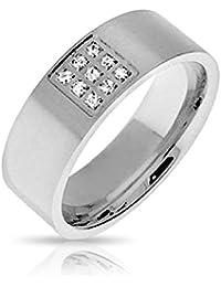 Bling Jewelry Hombre de Acero Inoxidable acoplamiento cómodo CZ Anillo de Bodas el anillo con el grabado