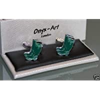 Novelty Cufflinks - Wellies Green Wellington Boots Design