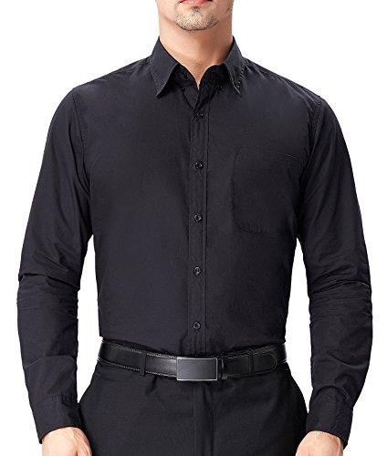 Paul Jones Herren Hemd Button Bown Kragen Langarmhemden mit Einem Linken Brusttasche S PJ0056-1 (Brusttasche Links)
