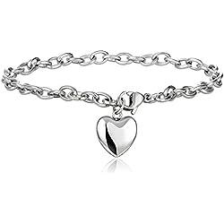 Jstyle Schmuck Edelstahl Armkette Anhänger Damenarmband Charmsarmband Herz- Anhänger Damen Armband Farbesilber Länge: 19cm für Damen