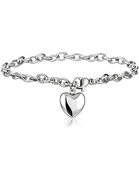 Jstyle Schmuck Edelstahl Armkette Anhänger Damenarmband Charmsarmband Herz- Anhänger Damen Armband Silberweiß...