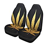 Set Of 2 Car Seat Covers Gold Cannabis Leaf Plant Silhouette Medical Marijuana Indica Universal Auto Front Seats Protector 14-17IN