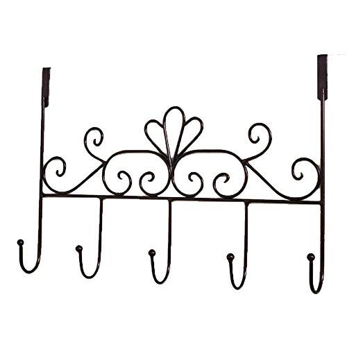 TentHome Hakenleiste zum Hängen Türhängeleiste, 5 Haken, Metall Landhaus Türgarderobe Garderobenleiste Türhaken (Bronze)