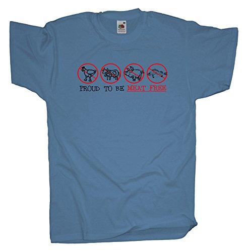 Ma2ca - Proud to be Meat free Herren T-Shirt | Vegetarier Veganer Shirt Skyblue
