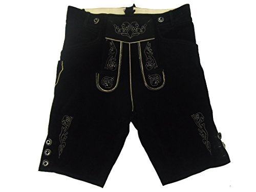 Kurze schwarze Lederhose - Lederhosen - schwarze Trachtenlederhose Größe 48 - Trachten Lederhose in schwarz