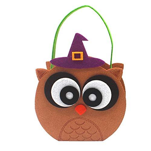 Halloween Candy Bag, Geschenktüte Candy Taschen Lovely Vlies Halloween Prop Festival Candy Bucket Zubehör Storage Style - Cookies Owl Halloween