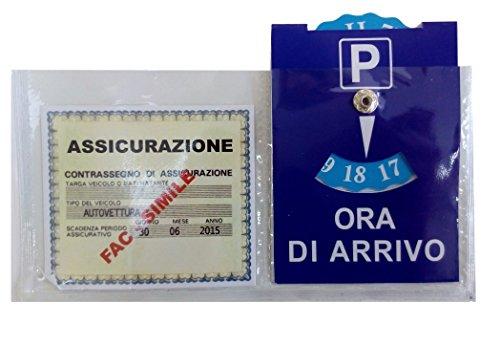 Preisvergleich Produktbild ducomi®-Versicherung mit Parkscheibe für Auto mit Aufkleber für Windschutzscheibe und Armaturenbrett aus Kunststoff transparent–Maße: 18x 12cm