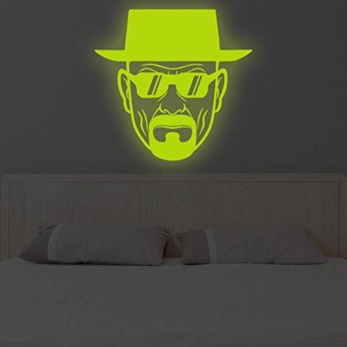 (120x 120cm) Glowing Vinyl Wand Aufkleber Breaking Bad Heisenberg mit Sonnenbrille/Glow in Dark Walter White Aufkleber/Leuchtziffern Wandbild + Gratis Aufkleber Geschenk macht.