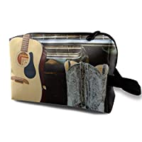 Cowboy Boots Guitar Travel Cosmetic Bag,Lightweight and Convenient Personalized Custom Cosmetic Bag